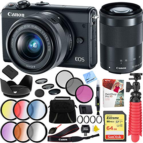 Price comparison product image Canon 2209C021 EOS M100 24.2MP Digital Camera with EF-M 15-45mm & 55-200mm is STM Lens Black Bundle with 64GB Memory Card,  49mm 4pc Filter Set,  49mm 6pc Filter Set and Accessories (5 Items)