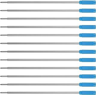 Unibene Cross Compatible Ballpoint Pen Refills 12 Pack, 1.0mm Medium Point-Blue, Smooth Writing Replaceable German Ink Pen Refill