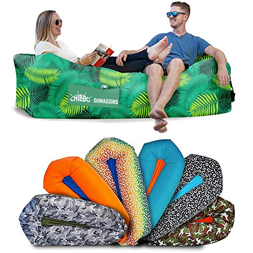 Chillbo Shwaggins Inflatable Couch – Cool Inflatable Chair. Upgrade Your Camping Accessories. Easy Setup is Perfect for Hiking Gear, Beach Chair and Music Festivals. (Green Leaf)
