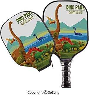 3D Print Graphite Pickleball Paddle Set,Flying Swimming and Land Dinosaurs with Lake and Mountains Dino Park Alive Theme Decorative Pop Carbon Fiber Large Lightweight Top Professional Power Outdoor Ra
