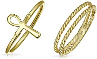 Religious Stackable Minimalist 14K Gold Plated 925 Sterling Silver Egyptian Ankh Cross Ring Set 1MM Enhancer Cable Band