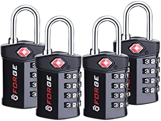 4 Digit TSA Approved Luggage Lock, 4 Pack Black, Inspection Indicator, Alloy Body