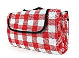 Camco Classic Red & White Checkered Picnic Blanket with Waterproof Backing - Includes Convenient Carry Strap|Comfortable and Durable Material|Measures 51' x 59' - (42803)