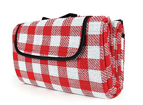 Camco Classic Red amp White Checkered Picnic Blanket with Waterproof Backing  Includes Convenient Carry Strap|Comfortable and Durable Material|Measures 51quot x 59quot  42803