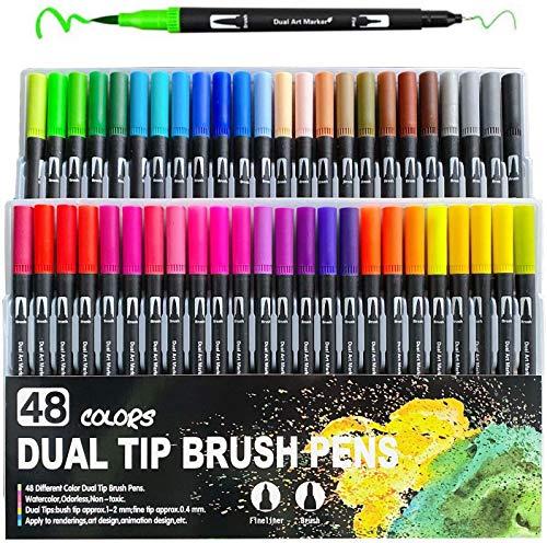 Pinselstifte mit Zwei Spitzen 48 Farben Filzstifte Malstifte für Erwachsene und Kinder Malen Färben Skizzieren Zeichnen