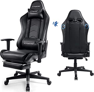 GTRACING Gaming Chair with Footrest and Speakers Bluetooth Racing Chair Audio Heavy Duty Big and Tall Computer Desk Chair Black
