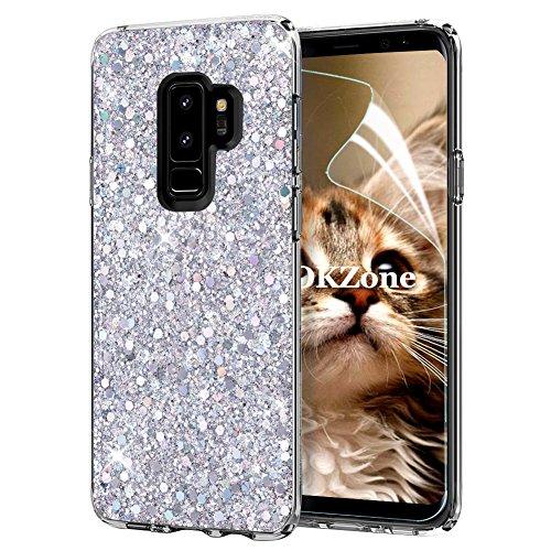 OKZone Cover Samsung Galaxy S9 Plus, Custodia Lucciante con Brillantini Glitters Ultra Sottile Designer Case Cover per Samsung Galaxy S9 Plus (Argento)