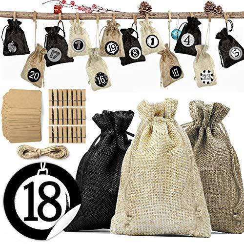 Dusor Adventskalender zum Befüllen - mit 24 Stoffbeutel, 1-24 Adventskalender Zahlen Stickern, Weihnachten Geschenksäckchen für Dekoration und Befüllen, Adventskalender 2020
