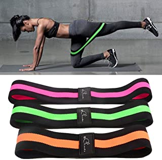3 Pack Resistance Bands for Legs and Butt, Hamkaw Non-Slip Workout Flexbands, Helps Body Shape and Build Muscle