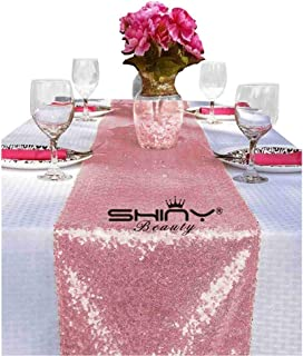 ShinyBeauty 12x72-Inch Sequin Table Runner Pink Gold, Sparkly Sequin Linen as Party Decoration Perfect for Head Table or Sweetheart Table