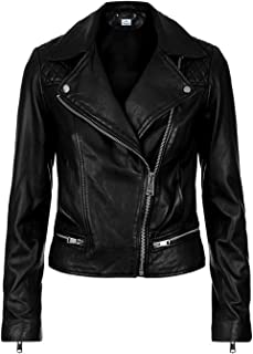 VearFit Wearable Missy Regular and Plus Size Real Sheep Leather Jacket Black for Women