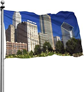 EDGG 4x6 Feet Chicago Skyline from Millennium Park Illinois - Vivid Color and UV Fade Resistant - Garden Flags