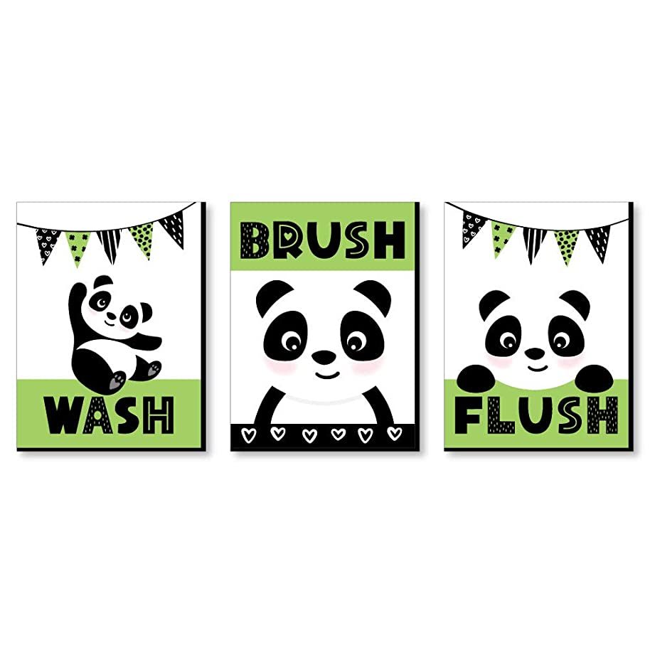 "Panda Bear - Kids Bathroom Rules Wall Art - 7.5"" x 10"" - Set of 3 Signs - Wash, Brush, Flush"