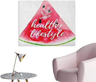 Anzhutwelve Fitness Wall Sticker Decals Healthy Lifestyle Themed Quote on Vivid Hand Drawn Watermelon Figure with Herbs Cool Poster Multicolor W28 xL20