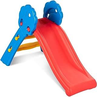 BABY JOY Folding Slide, Indoor First Slide Plastic Play Slide Climber for Kids (Floral Rail)