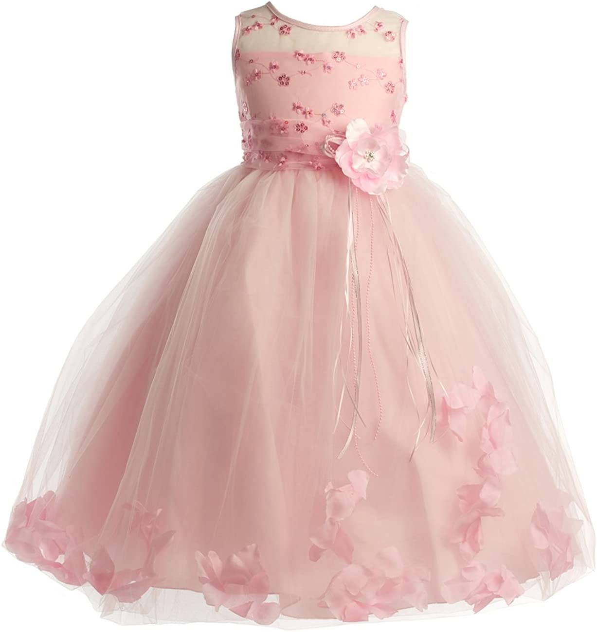 Joy Kids Girls Factory outlet Embroided Flower Dress Petals with Girl Floating Directly managed store