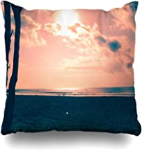 Ahawoso Throw Pillow Cover Blue This Beach Calaguas Philippines Nature Cloud Coast Dawn Evening Horizon Design Decorative Pillowcase Square 16x16 Home Decor Zippered Cushion Case
