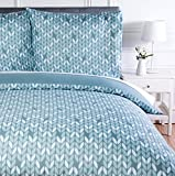 AmazonBasics Parure de lit avec housse de couette en microfibre, 200 x 200 cm, Gris (Grey Leaf)