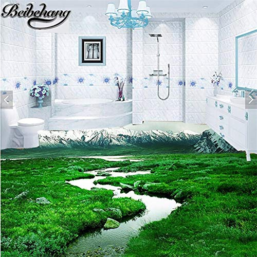 Apoart 3D Wandtapete Wohnzimmer Schlafzimmer Bodenfolie3D Bad Gras Verschneite Bergboden140Cmx100Cm