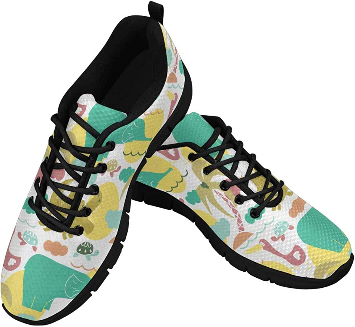 INTERESTPRINT African Animals Pattern Women's Lightweight Athletic Casual Gym Sneakers