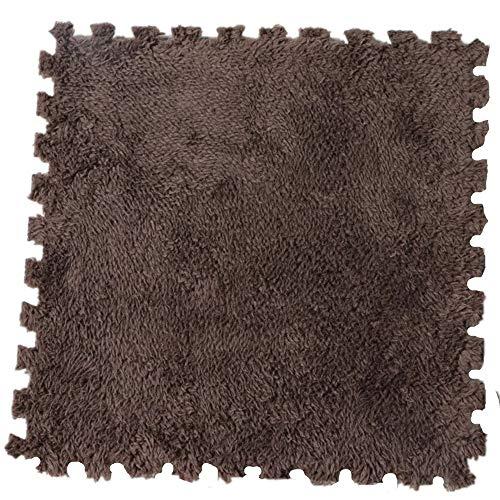 Morbuy Tapete de Mosaico Felpudos Alfombra Terciopelo de algodón Shu 31 * 31 cm Fácil de Limpiar Piso Moqueta Mats Pad para Habitación (5 Piezas, Marrón)