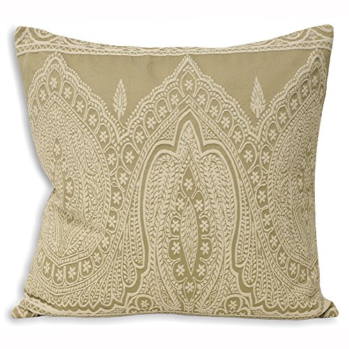 Riva Paoletti Paisley Cushion Cover - Linen Beige - Detailed Persian Paisley Design - Knife Edges - Hidden Zip - Machine Washable - PolyCotton - 50 x 50cm (20' x 20' inches) - Designed in the UK