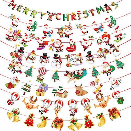 Tomkity 8pz Ornamenti Natalizie Bandierine Natale Banner String Ghirlanda Bandiera Accessori Decorazioni Casa Negozio Pupazzo di Neve Babbo Natale