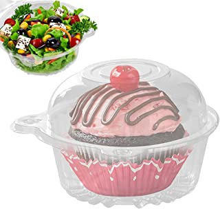 Plastic Single Individual Cupcake Containers, Clear Dome Box for Sandwich Hamburgers Fruit Salad Party Favor Cake Holder Muffin Case Cups Pod (Pack of 50)