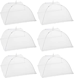 """Houseables Mesh Food Cover, Outdoor Pop-Up Canopy, 17""""x17"""", 6 pack, White Nylon, Picnic Table Tent, Patio Bug Net, Collapsible Plant Protector, Garden Umbrella, Reusable Dish Screen, for BBQs, Parties"""