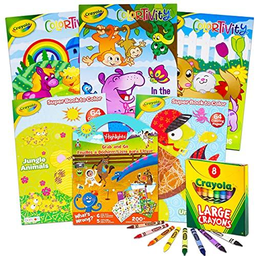 Crayola Coloring Books for Kids Toddlers Crayola Learning Set Bundle - 13 Pc Crayola Animal Coloring Activity Books with Crayola Learning Crayons Jumbo and Crayola Stickers (Crayola School Supplies)