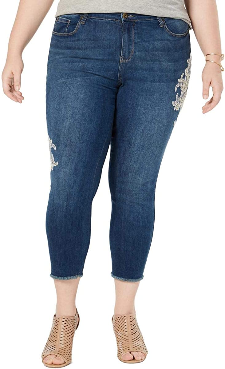 Style & Co. Womens Jeans Plus Skinny Lace Ankle Stretch Blue 20W