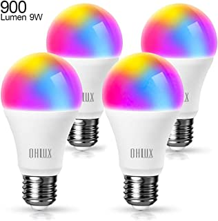 OHLUX Smart WiFi LED Light Bulbs Work with Alexa Google Home 900Lumen 80W Equivalent, RGBCW Multi-Color, 2700-6500k Dimmable,Voice Control 9W E26 A19 Color Changing Bulb-4PACK