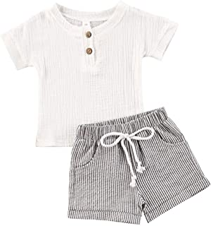 Baby Boys Girls Cotton Linen Shorts Set Toddler T-Shirt Tops with Elastic Pants Solid Clothes Outfit