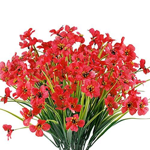 12 Bundles Artificial Flowers Outdoor UV Resistant Fake Flowers No Fade Faux Plants Garden Porch Window Box Decorating (Deep Red)