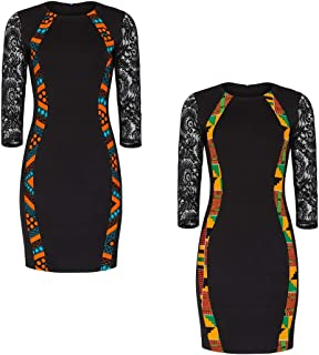 Hybrid Fashionista Little Black Dress African Bodyshape Dress with lace Sleeves Flattering Spandex Dress