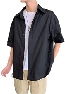 MogogN Mens Solid Colored Casual Buttoned Short Sleeve Summer Shirts