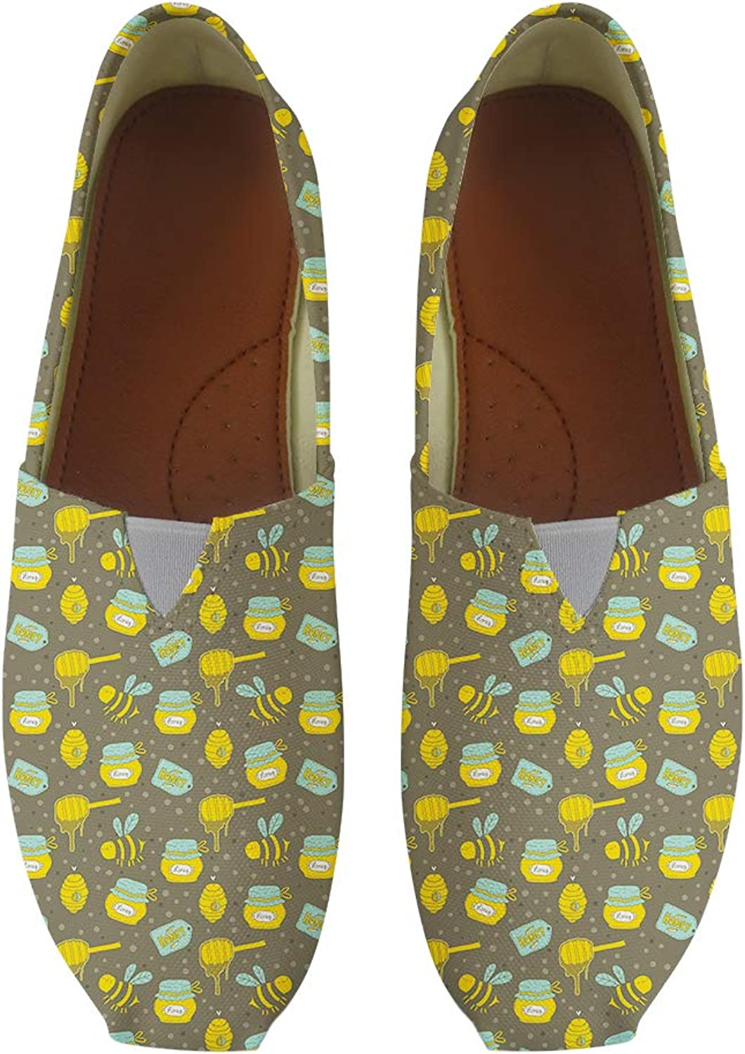 Owaheson Classic Canvas Slip-On Lightweight Driving shoes Soft Penny Loafers Men Women Honey Honeycomb Smiling Bee