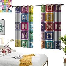 Curtain Set Educational,Colorful Lower Case Alphabet Blocks Cute Kids Font ABC Cartoon Style Typography, Multicolor 54
