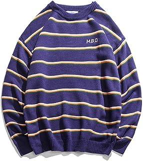 Usopu Men's Stripes Color Block Letter Crew Neck Long Sleeve Sweater