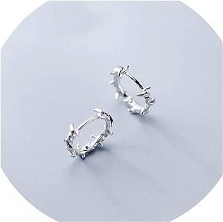Pure Silver Hoop Earring Barbed Wire Earrings Gift for Women Girl Teen Jewelry,Sterling Silver