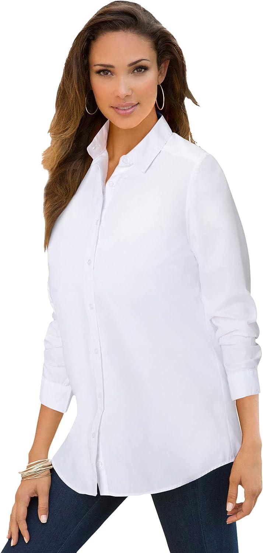 Roamans Women's Plus Size Long-Sleeve Kate Big Shirt Button Down Shirt Blouse