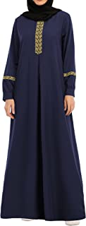 Abetteric Womens Long Sleeve Ethnic Style Full Zip Muslim Dresses Abaya