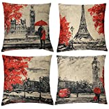 Gspirit 4 Pack Torre Eiffel Big Ben Lino Algodón Throw Pillow Case Funda de Almohada para cojín 45x45 cm Color Negro y Rojo
