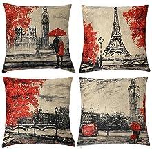 Gspirit 4 Pack Torre Eiffel Big Ben Lino Algodón Throw Pillow Case Funda de Almohada para cojín 45x45 cm Color Negro y Rojo