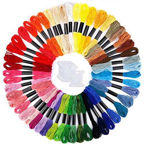 ghfashion Sticktwist in Regenbogenfarben, 50 Knäuel, Kreuzstichfaden, Armbänder, Bastelseide, Stickgarn mit 12 Spulen, 50pcs