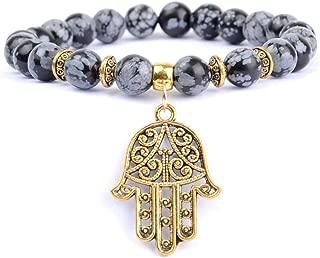 Natural Stone Rose Quartzs Beaded Bracelet Boho Golds Plated Hand Charm Bracelets for Women Men Yoga Jewelry Wholesale Snowflake Jasper 18cm