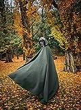 Green Moss Forest Druid vegan wool cloak with hood