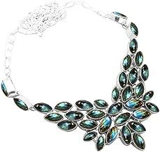 Genuine Labradorite Multi Gemstones 925 Silver Overlay Statement Necklace Jewelry for Girls and Women