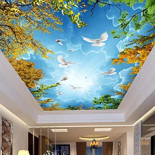 Papel tapiz fotográfico 3D Cielo azul y nubes blancas Techo Zenith Mural Sala de estar Dormitorio Hotel Naturaleza Paisaje Frescos-300x210cm
