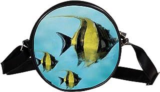 Coosun Umhängetasche für Kinder und Damen mit Fischmotiv, Wasserfarben, rund